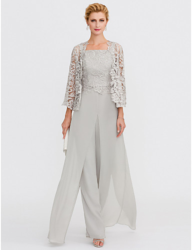 Jumpsuits   Pantsuit Straps Floor Length Chiffon   Corded Lace Mother of  the Bride Dress with Appliques   Lace   Split Front by LAN TING BRIDE® e165da351999