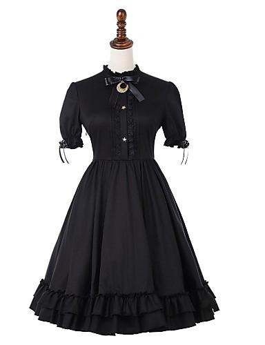 big sale 84af0 403f4 Casual Lolita Dress Vintage Gothic Women s Dress Cosplay Black Puff    Balloon Sleeve Short Sleeve Midi Costumes