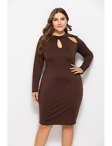 f8d1cabbbfb Women s Plus Size Daily   Going out Basic Slim Sheath Dress - Solid Colored  Cut Out Crew Neck Fall Cotton Red Royal Blue Lavender XXL XXXL 4XL