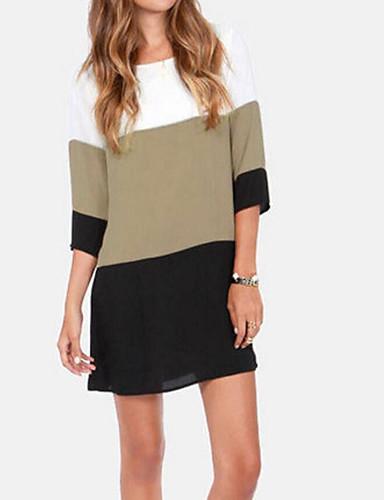 billige Topper til damer-Løstsittende Store størrelser T-skjorte / Bluse Dame - Fargeblokk, Lapper Grunnleggende / Gatemote Svart
