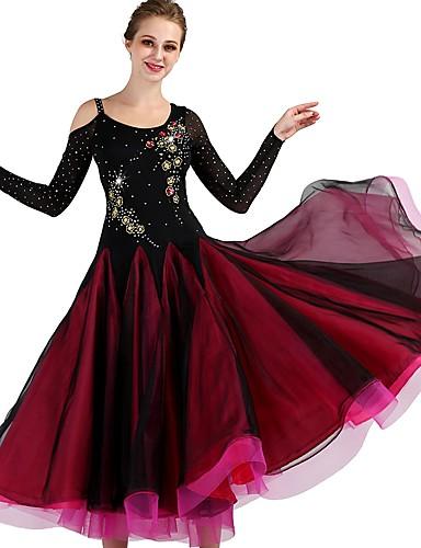 d5565d53f Ballroom Dance Dresses Women's Training Nylon / Organza / Tulle Crystals /  Rhinestones Long Sleeve High Dress