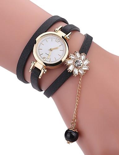 4a4aab80c43 Mulheres Bracele Relógio envoltório relógio Quartzo Couro PU Acolchoado  Preta   Branco   Azul Novo Design Relógio Casual imitação de diamante  Analógico ...