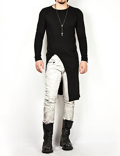 男性用 Tシャツ ベーシック ラウンドネック ソリッド コットン ホワイト XL / 長袖 / ロング