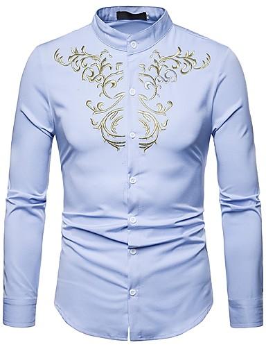 رجالي قميص رقبة طوقية مرتفعة - عتيق / بوهو مطرز ترايبال رمادي L / كم طويل