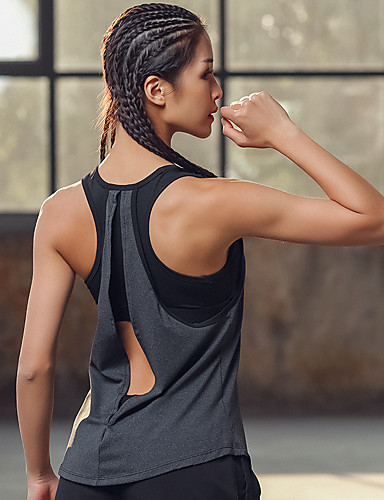 d880a30f7ca Women s Cut Out Yoga Built In Bra Tank Grey Sports Fashion Tank Top Zumba  Yoga Running Sleeveless Activewear Lightweight Breathable Quick Dry  Sweat-wicking ...