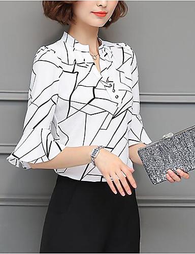 abordables Camisas y Camisetas para Mujer-Mujer Chic de Calle Noche Estampado Camisa, Escote en Pico Corte Ancho Geométrico Blanco XL / Primavera / Verano