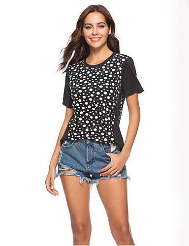 economico Maglie donna-T-shirt / Camicia Per donna Essenziale A pois / Monocolore Nero / Sexy / Largo