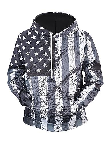 hesapli Erkek Kapşonluları ve Svetşörtleri-Erkek Actif / Temel Pantolon - Geometrik / Zıt Renkli / 3D Siyah & Kırmızı / Siyah ve Beyaz, Desen Gri / Kapşonlu / Uzun Kollu / Sonbahar / Kış