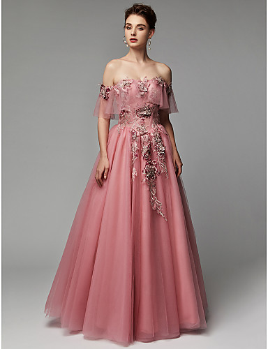 1dd6ca8246728 منفوش دون الكتف طول الأرض دانتيل   تول فستان مع زينة بواسطة TS Couture®