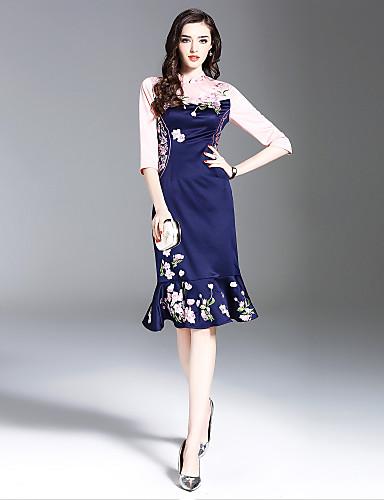 0956f10a54cc Γυναικεία Μεγάλα Μεγέθη Αργίες Εκλεπτυσμένο Κομψό Λεπτό Τρομπέτα   Γοργόνα  Φόρεμα - Φλοράλ