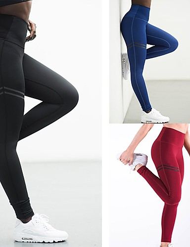 c438d31ca10 Women s Yoga Pants Red Green Blue Sports Solid Color Spandex High Rise  Tights Zumba Fitness Gym Workout Activewear Moisture Wicking Compression  Butt Lift ...