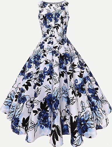 abordables Robes Femme-Femme Sortie Rétro Vintage Mi-long Trapèze Robe - Imprimé, Fleur Eté Bleu S M L Coton Manches Longues