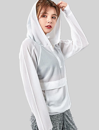 358c58dfc7a504 Women s Pullover Pocket Hoodie   Sweatshirt White Black Sports Fashion  Cotton Mesh Top Yoga Running Fitness Long Sleeve Activewear Lightweight  Breathable ...
