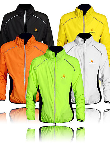 cheap Cycling Jackets-WOLFBIKE Men's Cycling Jacket Bike Windbreaker Top Windproof Quick Dry Ultraviolet Resistant Sports Polyester Orange / Yellow / Green Mountain Bike MTB Road Bike Cycling Clothing Apparel Advanced