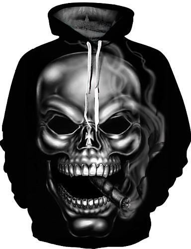 お買い得  グラフィックス・スウェット-男性用 パンク&ゴシック / 誇張された プラスサイズ パンツ - 3D プリント ブラック / ラウンドネック / 長袖 / 秋