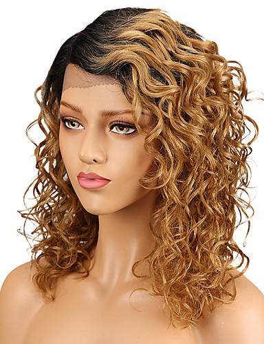 abordables Perruques Naturelles Dentelle-Perruque Cheveux Naturel Rémy Full Lace Cheveux Brésiliens Bouclé Doré Coupe Dégradée Femme Densité 130% avec des cheveux de bébé Court Jaune Perruque Naturelle Dentelle Luckysnow