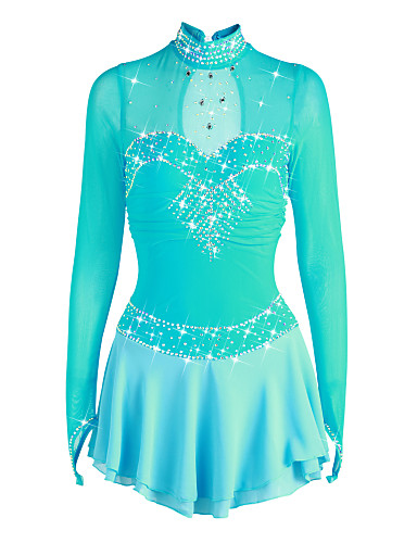 07f28cf92 Figure Skating Dress Women's Girls' Ice Skating Dress Pale Blue Spandex  High Elasticity Competition Skating Wear Handmade Rhinestone Long Sleeve  Ice Skating ...