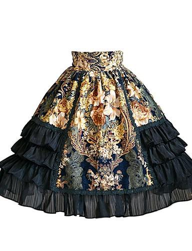 رخيصةأون Lolita فساتين-القوطية لوليتا بغي لوليتا كلاسيكي فستان كشكش انثى الالتفاف أزياء الحفلة حفلة تنكرية تأثيري أسود خياطة تخريم Stitching Lace طول الركبة ازياء