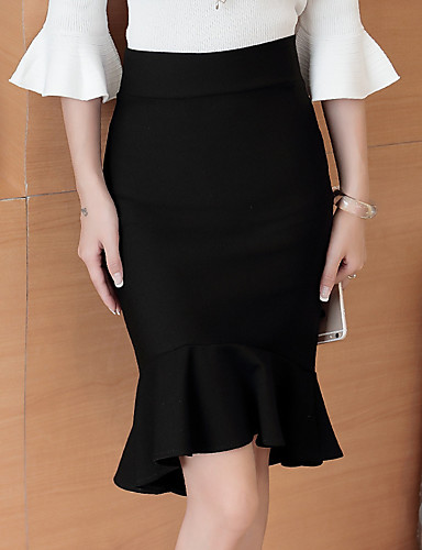 Women's Daily Cotton Bodycon / Trumpet / Mermaid Skirts - Solid Colored Black M L XL