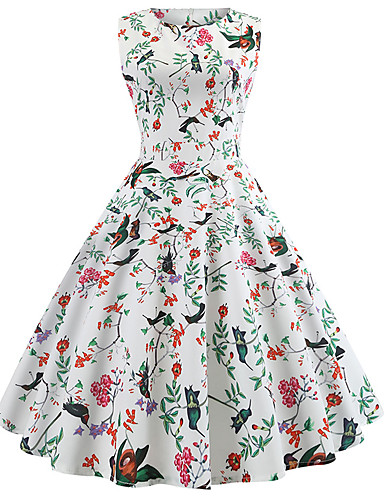 billige Kjoler-Dame Gatemote Elegant Chiffon Kjole - Blomstret, Trykt mønster Midi Sommerfugl