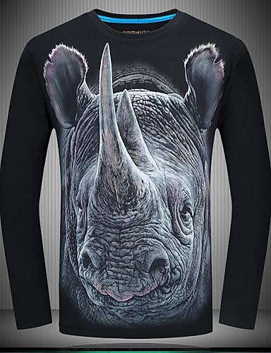 abordables $15-$20-Hombre Vintage Tallas Grandes Algodón Camiseta, Escote Redondo Delgado Animal Azul Piscina XXXXL / Manga Larga