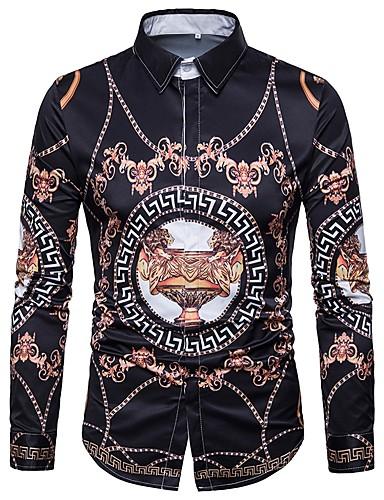 voordelige Uitverkoop-Heren Vintage / Boho / Street chic Print Overhemd Katoen Geometrisch / Tribal Klassieke boord Leeuw Wit / Lange mouw