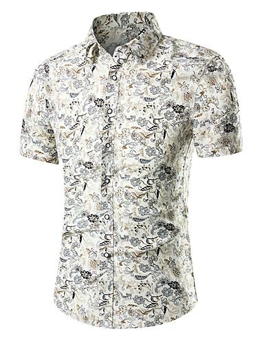 voordelige Herenoverhemden-Heren Actief / Street chic Print Grote maten - Overhemd Geometrisch Slank Beige / Korte mouw