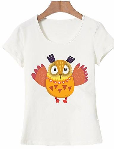 billige Dametopper-Bomull T-skjorte Dame - Dyr, Trykt mønster Grunnleggende Ut på byen Hvit L