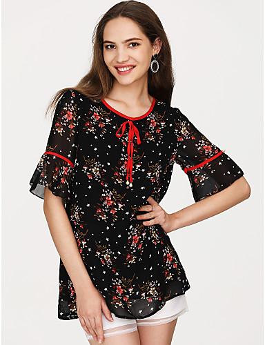 billige Dametopper-Bomull Puffermer T-skjorte Dame - Ensfarget, Dusk Vintage BLå & Hvit Svart