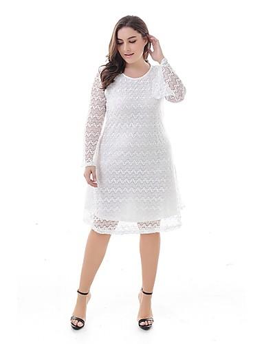 05fea12ff4d Women s Plus Size Daily Basic Slim A Line Dress - Solid Colored High Waist  Summer White Black XXXXXXL 8XL 9XL