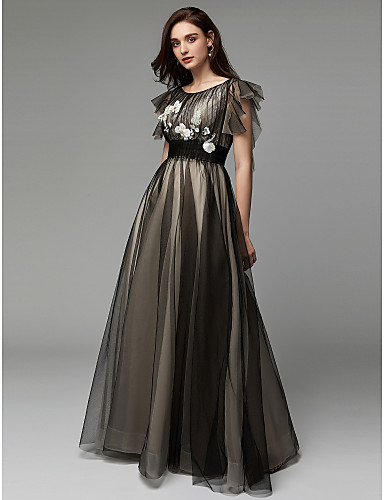 6c814a8bc69 A-Line Boat Neck Floor Length Tulle Formal Evening Dress with Appliques    Embroidery by TS Couture®