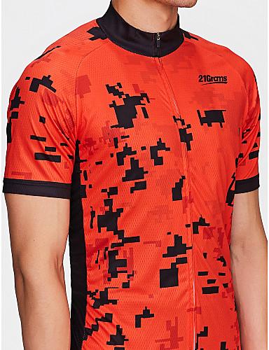 21Grams Herre Kortermet Sykkeljersey - Rød Stribe Klassisk Sykkel Skjorte Genser Jersey, Pustende Fort Tørring Refleksbånd 100% Polyester / Elastisk / Avanceret / Svettereduserende