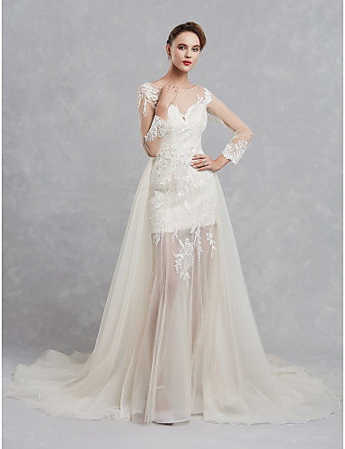 92d191eab A-Line Bateau Neck Court Train Lace / Tulle Made-To-Measure Wedding Dresses  with Lace by LAN TING BRIDE®