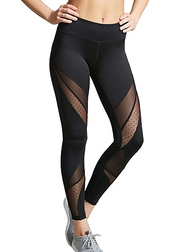 179d5674d97 Women s See Through Yoga Pants Black Sports Spot Mesh Tights Leggings Zumba  Dance Running Activewear Breathable Moisture Wicking Anatomic Design  Stretchy
