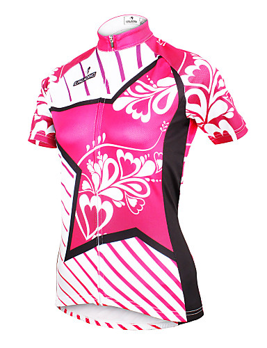 ILPALADINO Women s Short Sleeve Cycling Jersey - Yan pink Floral   Botanical  Plus Size Bike Jersey Top Breathable Quick Dry Ultraviolet Resistant Sports  ... c0fa59567