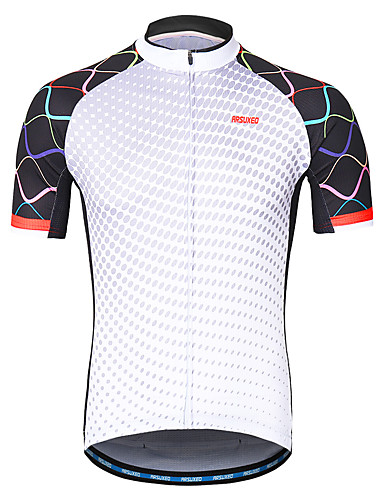 56a24e6759b41 Arsuxeo Men s Short Sleeve Cycling Jersey - White Solid Color Bike Jersey  Reflective Strips Sweat-wicking Sports 100% Polyester Mountain Bike MTB  Road Bike ...