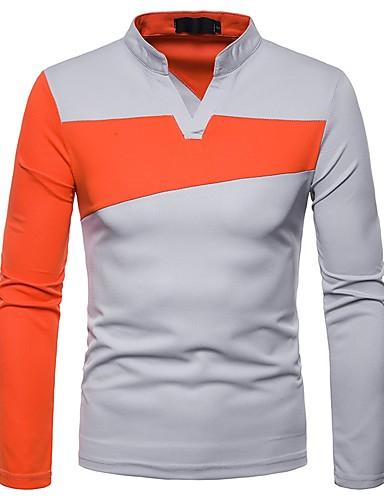 voordelige Herenpolo's-Heren T-shirt / Polo Kleurenblok V-hals Zwart / Lange mouw