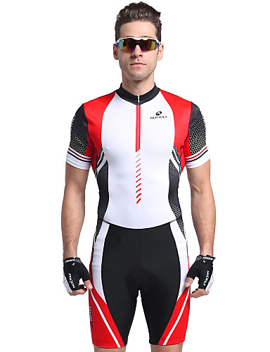 cheap Cycling Clothing-Nuckily Men's Short Sleeve Triathlon Tri Suit - Red Stripes Bike Breathable Anatomic Design Ultraviolet Resistant Sports Polyester Spandex Stripes Triathlon Clothing Apparel / Stretchy / Advanced