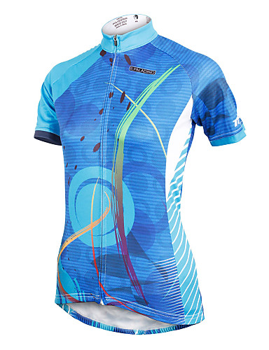 cheap Cycling Clothing-ILPALADINO Women's Short Sleeve Cycling Jersey - Blue Plus Size Bike Jersey Top Breathable Quick Dry Ultraviolet Resistant Sports Polyester 100% Polyester Terylene Mountain Bike MTB Road Bike Cycling