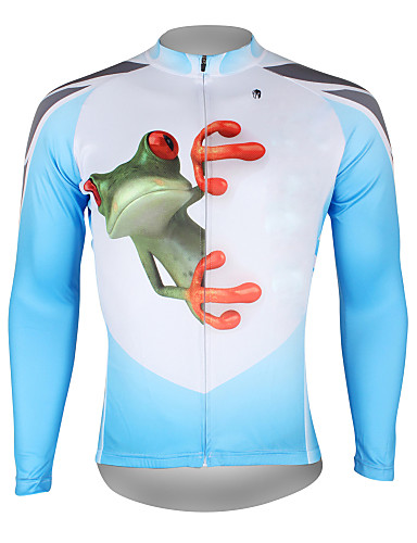 cheap Cycling Clothing-ILPALADINO Men's Long Sleeve Cycling Jersey Blue and White Bike Jersey Top Breathable Quick Dry Ultraviolet Resistant Sports 100% Polyester Mountain Bike MTB Road Bike Cycling Clothing Apparel