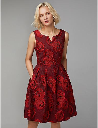 billige Feriekjoler-A-linje V-splitt Knelang Polyester / Bomull Cocktailfest Kjole med Plissert av TS Couture®