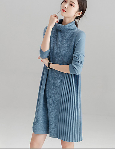 b7f4e81b07 Women s Daily Basic Sweater Dress - Solid Colored Turtleneck Black Pink  Light gray M L XL