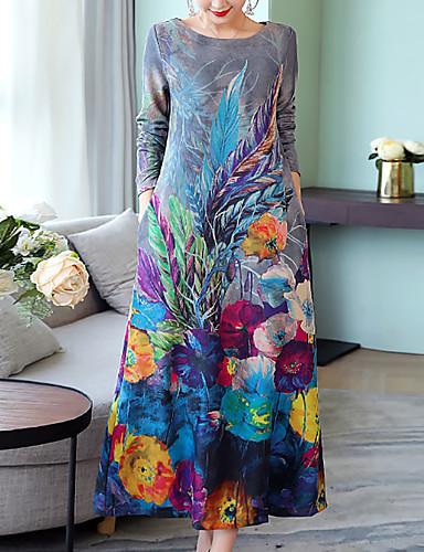 voordelige Maxi-jurken-Dames Grote maten Uitgaan Katoen Ruimvallend Tuniek Jurk - Bloemen, Print Maxi