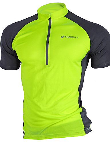 d030adfe3 Nuckily Men s Short Sleeve Cycling Jersey - Pink Grey Light Green Patchwork Bike  Jersey Top Breathable Quick Dry Ultraviolet Resistant Sports Polyester ...