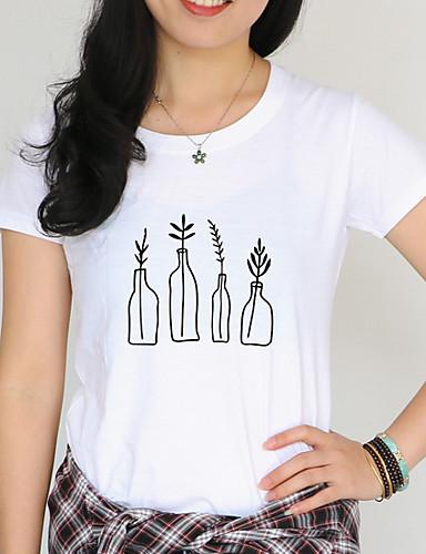 billige Dametopper-T-skjorte Dame - Ensfarget Grunnleggende Hvit XL