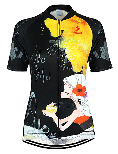 cheap Cycling Clothing-Arsuxeo Women's Short Sleeve Cycling Jersey - Black / Yellow Floral Botanical Bike Jersey Top Breathable Quick Dry Anatomic Design Sports 100% Polyester Mountain Bike MTB Road Bike Cycling Clothing