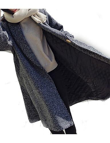 billige Ytterklær til damer-Dame Daglig Normal Frakk, Ensfarget Skjortekrage Langermet Polyester Mørkegrå
