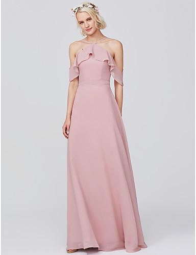 f70c7b39e9f A-Line Spaghetti Strap Floor Length Chiffon Bridesmaid Dress with Ruffles  by LAN TING BRIDE® 6773471 2019 –  109.99