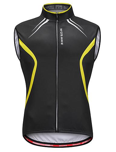 cheap Cycling Clothing-WOSAWE Men's Sleeveless Cycling Vest - Black / Yellow Bike Vest / Gilet Jersey Reflective Strips Back Pocket Sweat-wicking Sports Reactive Print Mountain Bike MTB Road Bike Cycling Clothing Apparel
