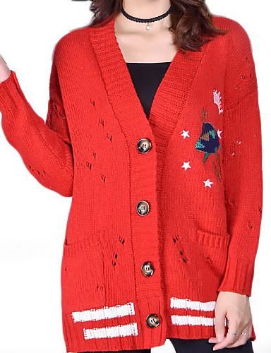 abordables Hauts pour Femmes-Femme Quotidien Basique Couleur Pleine / Géométrique Manches Longues Normal Cardigan, Col en V Automne Noir / Rouge / Jaune Taille unique